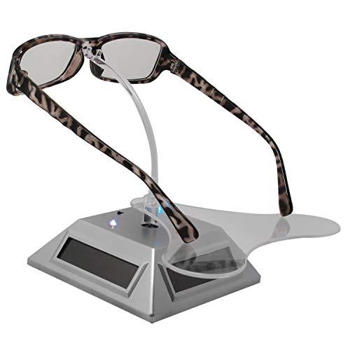 TOOGOO IluminacióN Solar Giratorio Soporte de Joya Soporte de ExhibicióN de Gafas LáMpara de 7 Colores Soporte de ExhibicióN FotografíA de Joya, Plateado