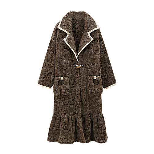 SCDZS Albornoz para mujer para otoño e invierno, cálido, de rizo, de manga larga, casual, albornoz (talla XXL: