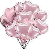 Globos Corazón Oro Rosa ZSWQ 10 Pulgadas Globos de Papel de Aluminio Globos de Fiesta para la Decoración del Partido Propuesta de Matrimonio Boda Aniversario Cumpleaños (50 PCS)