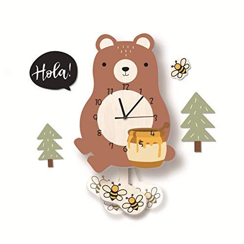 SWECOMZE Kinder-Wanduhr, Wanduhr aus Holz, Uhr ohne Tickgeräusche, Lautlos Uhrwerk, Kinderuhr, Wanddeko für das Kinderzimmer (Bär)