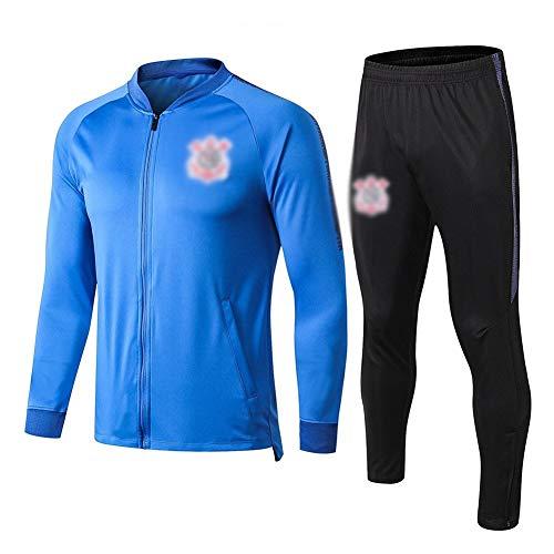 ZH~K Traje de entrenamiento de club de fútbol europeo para hombre, manga larga, transpirable, ropa deportiva (parte superior + pantalones) – A1225 sudaderas para hombre (color: azul, tamaño: S)