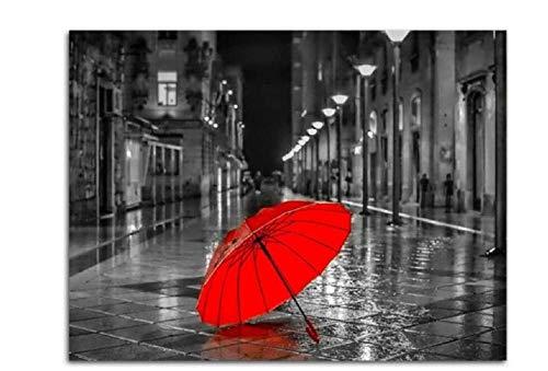 YHKTYV Schwarzweiss-Straße des Roten Regenschirms 98 Teile Holzpuzzle Dekomprimieren Spielzeug DIY Geschenk Wanddekorationen Dekorative Gemälde Bildung Spielzeug Abnehmbar