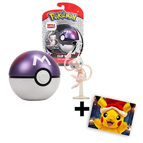 Lively Moments Pokemon - Pokeball Clip ´N´ GO für unterwegs Pokemonfigur Mew mit Meisterball mit Grußkarte Weihnachtspikachu