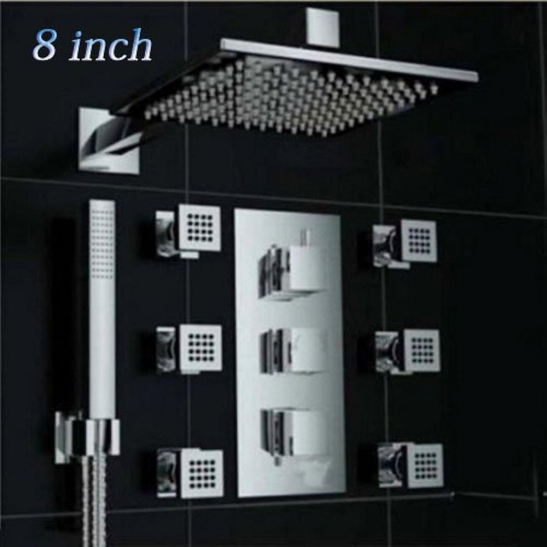Luxurious shower 3 die Farbe gendert quadratisch LED Wand montiert Regendusche Armaturen + LED Duschkopf + Massagedüsen Dusche spritze Chrom, 8 Zoll