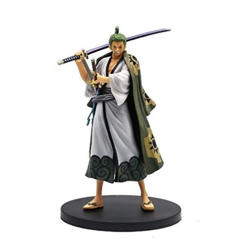 Yzoncd Anime One Piece Fugure Model Roronoa Zoro Action Figure 17Cm, New World Cappello di Paglia Classic Battle PVC Regalo da Collezione Toy