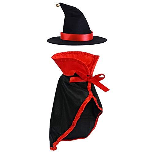 LAWOHO Halloween-Kostüm, Teufelskostüm, rote Hexe, Festival-Dekoration, Katzenanzug, Kleidung für Kleine Katzen mit Umhang und Hut