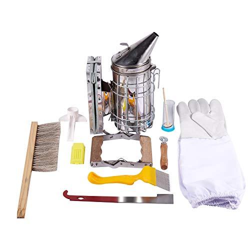 Senmubery 1 Set 10 in 1 Metall Imkereibedarf Werkzeugset Imkerei Bienenstock Smoker Kit Imkerei Ausrüstung Werkzeug Apiculture Zubehör