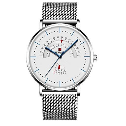 JISHIYU -Q - Reloj para hombre de lujo, impermeable, correa de malla de acero inoxidable, reloj de moda para hombre (color: plata)