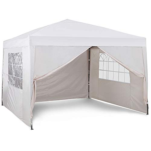 VonHaus Pop Up Gazebo 3x3m Set – Outdoor Garden Marquee with Water-resistant Cover & Leg Weight Bags - Ivory Colour