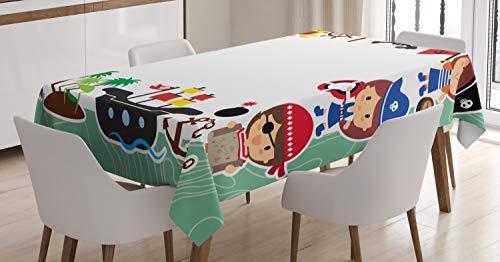 ABAKUHAUS Partij Tafelkleed, Pirate Kinderen Ship, Eetkamer Keuken Rechthoekige tafelkleed, 140 x 200 cm, Veelkleurig
