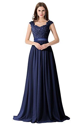 Damen Elegant Ämellos Chiffon Hochzeitskleid mit Spietze lang Navyblau 44