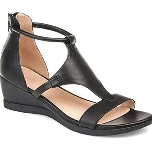 MLLM Para playa y piscina, sandalias de punta abierta de gran tamaño; pendiente con zapatos de mujer Roma-negro_41, chancletas unisex para la playa y la piscina
