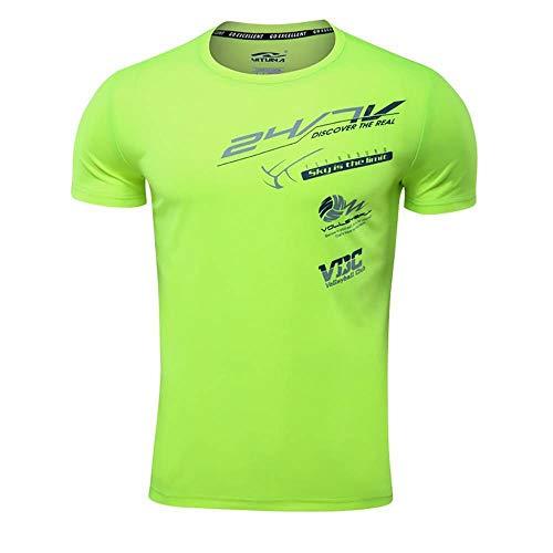 CUIZC, Plus la Taille de Séchage Rapide Col Rond Motif Hommes T-Shirt Sport Manches Courtes M L XL 2XL 3XL 4XL - Vert - 4XL