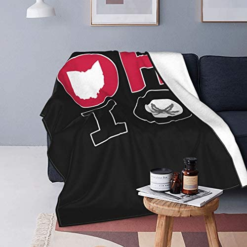 RISETRIAL Ohio State O H Throw Blanket Ultra Soft Micro Fleece Blanket for Sofa Chair Bed Office product image