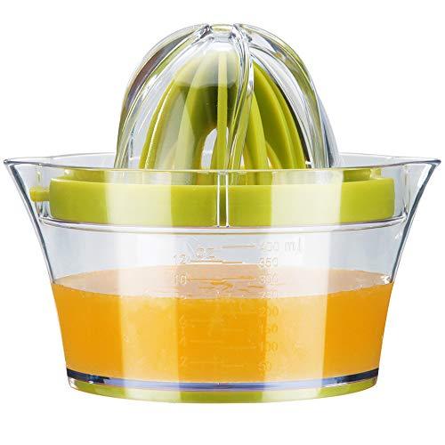 G.a HOMEFAVOR Zitruspresse Zitronenpresse Orangen Entsafter Multifunktionale Manuelle Zitrusfrucht Saftpresse Handpresse mit 400ml Saftbehälter und 2 Presskegel