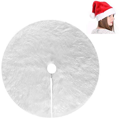 Myir Falda del Árbol de Navidad Blanco Felpa Delantal de Decoracióndel Árbol Decoración De Navidad, Sombrero de Santa Santa Hat (Faldas para el árbol & Sombrero 122cm)