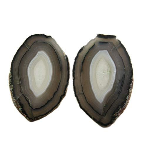 Posavasos de ágata natural para decoración del hogar, juego de dos posavasos, rebanada de ágata blanca y gris, regalo para inauguración de la casa, posavasos de piedra