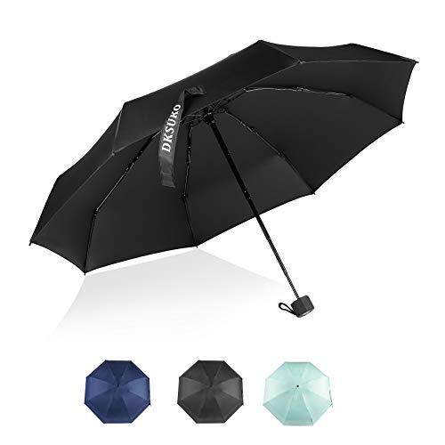 DKSUKO Mini Travel Umbrella, Small Sun & Rain Umbrella with Windproof Lightweight UV Protection Outdoor Portable Parasol Compact Umbrella (Black)