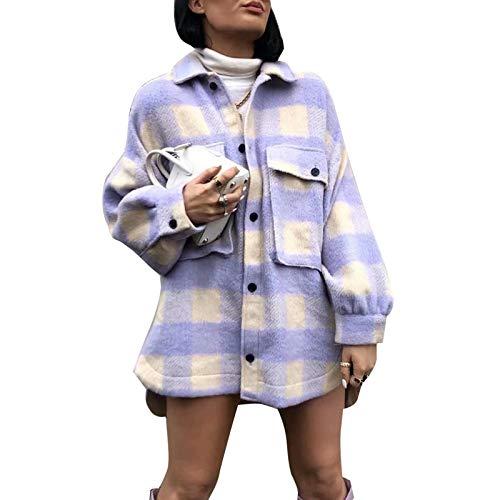 cappotto donna a quadri Camicia a Quadri per Donna a Maniche Lunghe con Bottoni in Flanella Morbida Giacca Cappotto Camicia a Plaid Casual Moda (Viola