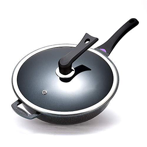 DZX Fry Pan Chef Classic Wok Maifan Cocina Plana de aleación de Aluminio Antiadherente de Piedra sin Revestimiento con Tapa Cocina casera o Restaurante para una Variedad de usos Regalo (Color: Negro)