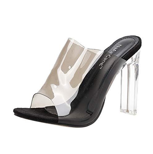 Damen Transparente High Heel Sandalen Sexy Flip Flops Pantoletten Slipper mit Durchsichtigem Riemchen und Blockabsatz,12cm,35-40 TWBB