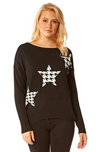 Roman Originals Jersey de pata de gallo para mujer, diseño de estrella - negro - Medium