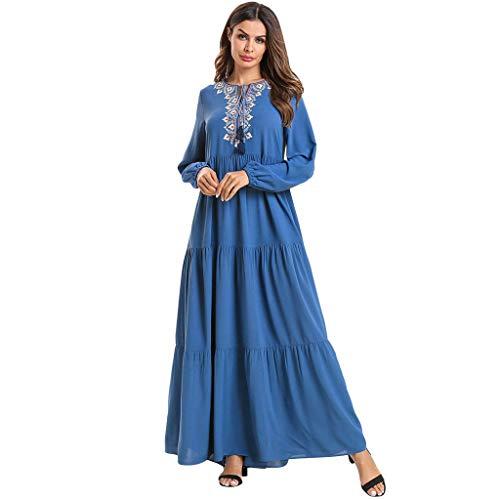 Abaya Femme Musulmane,Mode Féminine Élégant Broderie Florale Robe Musulmane en Vrac Décontractée à Manches Longues en Mousseline de Soie Cardigan Maxi Robe Caftan Dubai Vêtements