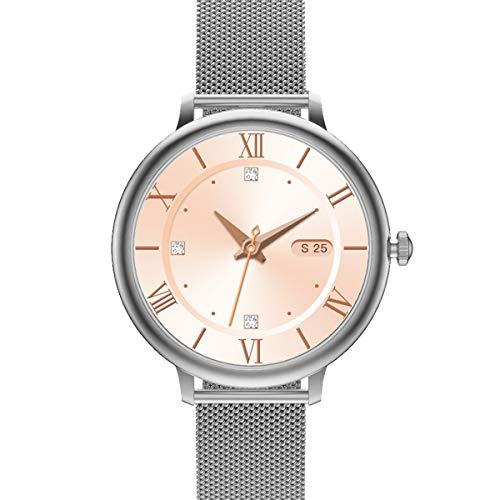 Damen Smartwatch, E21 SANAG Fitness Tracker mit Pace, wasserdichte Fitnessuhr Smart Watch mit Blutsauerstoff-Monitor (Silber)