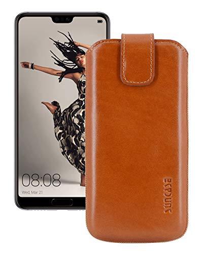 Suncase Etui Tasche für Huawei P20 Pro   mit ZUSÄTZLICHER Hülle/Schale/Bumper/Silikon *Lasche mit Rückzugfunktion* Handytasche Ledertasche Schutzhülle Hülle Hülle in Cognac