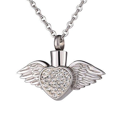 Romqueen Schmuck Edelstahlflasche Bunt Halskette Herz Asche Anhänger Flügel Herzförmigen Diamanten Memorial Anhänger Brautstrauß Silber-Siber