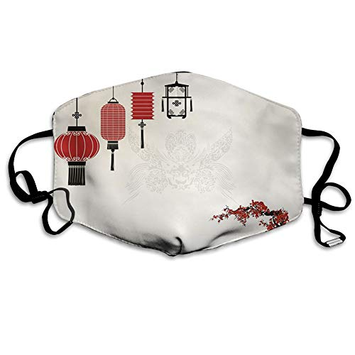 Cómoda máscara resistente al viento, farolillo, diseño minimalista de Año Nuevo chino temática de partes orientales del mundo,...