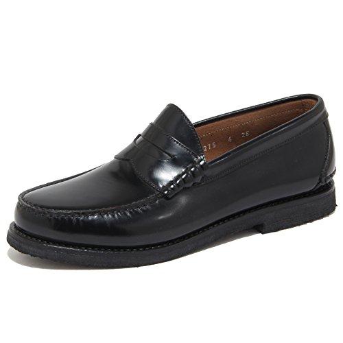 FERRAGAMO 6676N Mocassino Uomo Salvatore Spalato Nero Shoes Man [40.5-6.5]