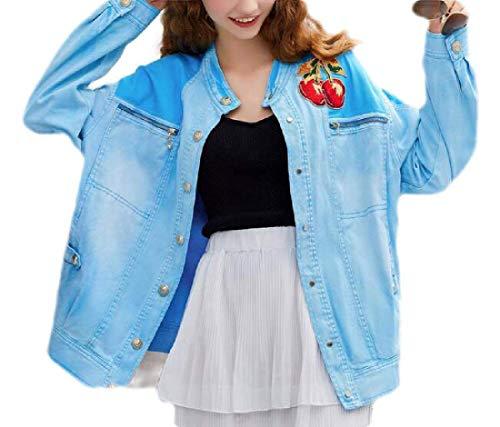 GRMO Women's Boyfriend Loose Button Up Long Sleeve Denim Jean Jacket Outwear Blue US S