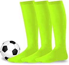 Youth to Adult Unisex Soccer Athletic Sports Team Cushion Socks 3 Pack (Large (10-13), Neon Green)