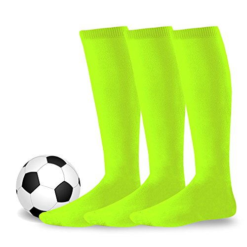 Youth to Adult Unisex Soccer Athletic Sports Team Cushion Socks 3 Pack (Youth (5-7), Neon Green)