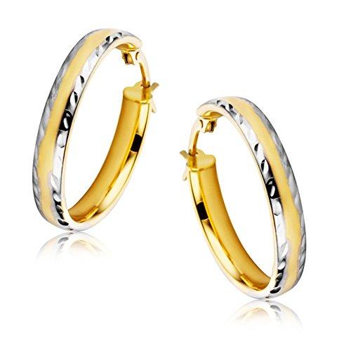 Orovi Orecchini Donna Cerchio in Oro Bianco e Oro Giallo Oro 9 Kt / 375