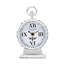 NIKKY HOME Rustic Metal Round Analog Small Table Clock 4.7 x 2.4 x 7.6 Inch