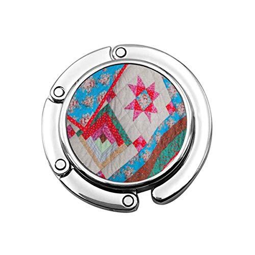 Lindo Gancho Plegable para Colgar el Bolso Colcha de Retazos Abstracta Colorida Parte de Color como artesanía Cultura Bolso Gancho Bolso de Mesa