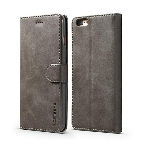 Magnetic Leather Wallet Flip Phone Case Compatible for iPhone 11 Pro Max XR XS MAX 6 6S 7 8 Plus X Full Body Business Back Cover-Gray-Compatible for iPhone 7 Plus