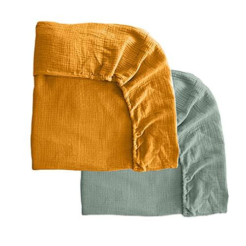 Pack 2 sábanas bajeras para Cuna 60x120 de Gasa de Muselina. Bajeras Ajustables para Cuna. Sábana Bajera algodón para bebé. Sábanas de Muselina. 2 Bajeras de Gasa Mimuselina (Menta-Mostaza)