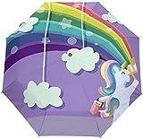DXZ-Design Magic Rainbow Unicorn 3 Pliegues Automático Abrir Cerrar Parasol Sol Lluvia Anti-UV Paraguas