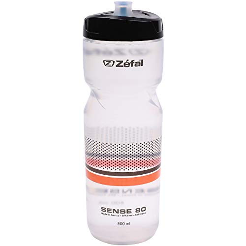 Zefal Unisex– Erwachsene Sense M80 Trinkflasche, transp/sw/orange, 800ml