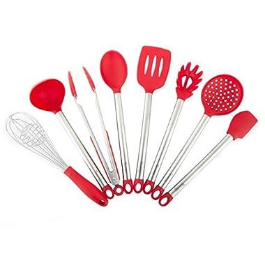MICHELANGELO Stainless Steel & Silicone Kitchen Utensils Set, 8 Best Kitchen Utensils, Whisk And Spatulas Set For Nonstick Cookware, Red Utensils Set With Stainless Steel Handles