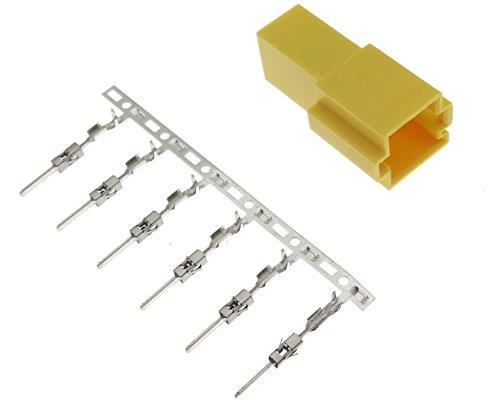 Mini ISO bus behuizing 6-polig geel + pins contactradio compatibel met autoradio's van Blaupunkt Becker Grundig Philips VDO Daytona
