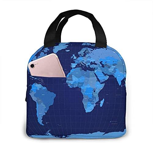 Bolsa de almuerzo aislada portátil con cremallera impermeable con patrón de mapa azul Wold, lavable y reutilizable, adecuada para viajes al aire libre, picnic, escuela, oficina.