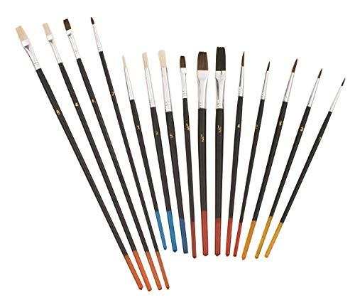 kwb 030590 Fein-Pinsel Set, 15-teilig, Tusche-Pinsel für Künstler, Schul-Pinsel, Ölmalpinsel für Modellbau, Kinder-Garten u. v. m.