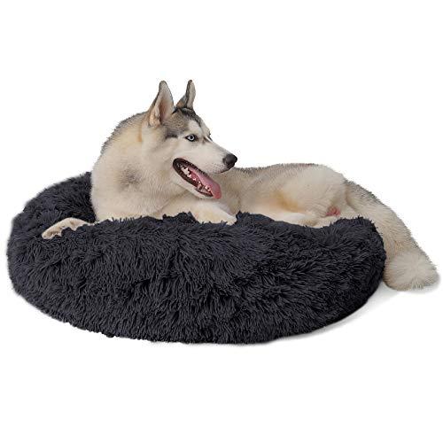 DanceWhale Rund Hundebett Flauschig Katzenbett Waschbar Hundekissen Weiches Plüsch Donut Haustierbett für Katzen Hunde (80cm, Dunkelgrau)