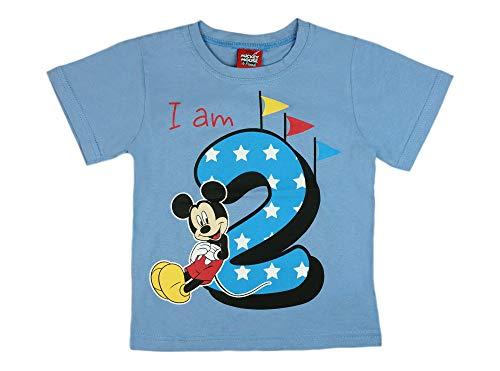 Jungen Baby Kinder zweiter Geburtstag Kurzarm T-Shirt 2 Jahr Baumwolle Birthday Outfit GRÖSSE 92 98 Mickey Mouse Disney Design in Weiss oder Blau Babyshirt Oberteil Hemd Polo Farbe Blau, Größe 92