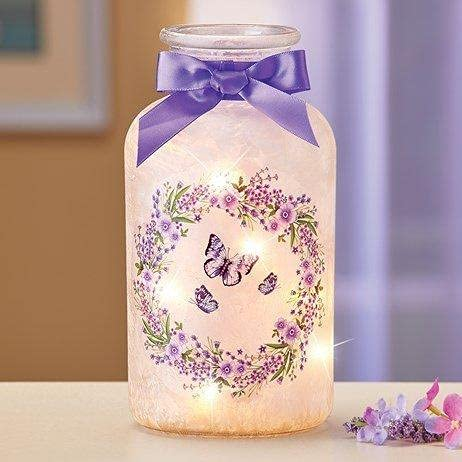 Charlotte Mall A.K. AllYourNeed Frosted New product type Butterfly Wreath Mason with Jar Lights