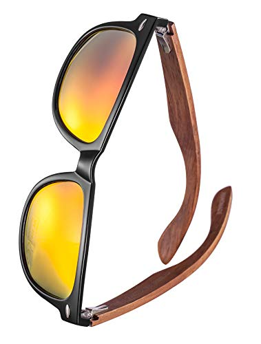 GREENTREEN Herren und Damen Polarisierte Sonnenbrille mit Holzbügeln, UV-Schutz
